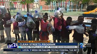 East Baltimore Elementary school students clean up 9 blocks with Baltimore Clean Streets - Video