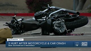 Two hurt after motorcycle and car crash in Mesa