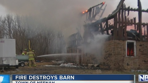 Fire destroys barn
