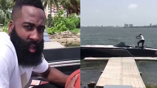 James Harden Does the Drive-By Dunk Challenge from a Damn Boat - Video