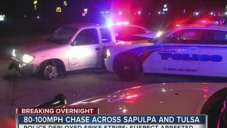 Man in custody after overnight high speed chase in Sapulpa - Video