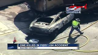 Driver killed in fiery I-94 crash in Racine County - Video