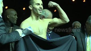 Angry scenes as pro boxer forced to remove his underwear to make weight