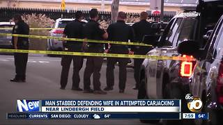 Man stabbed during attempted carjacking - Video