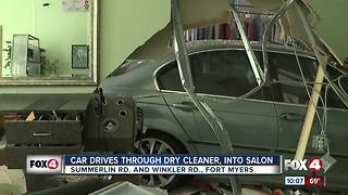 Car crashes through dry cleaners and salon in Fort Myers - Video