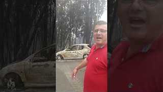 Shell of Car Burned by Wildfire Left in Pedrogao Grande - Video