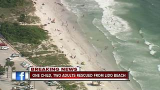 Three people, including child, rescued from Lido Beach