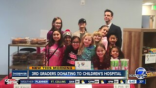 Cherry Creek Academy 3rd graders donation to Children's Hospital