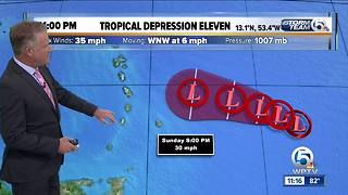 Tropical Depression Eleven forms in the Atlantic