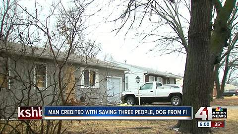 Grandview firefighters rescue three, plus dog as home burns