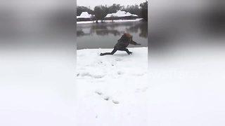Invisible box challenge on snow goes terribly wrong - Video