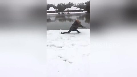Invisible box challenge on snow goes terribly wrong