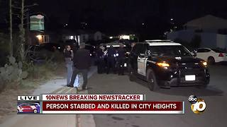 Person stabbed, killed in City Heights - Video