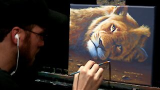 Acrylic Wildlife Painting of a Napping Lion - Time-lapse - Artist Timothy Stanford