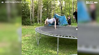 Trampoline jump ends in spectacular failure