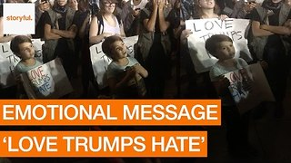 'Love Trumps Hate': Young Girl's Message at Anti-Trump Protest - Video