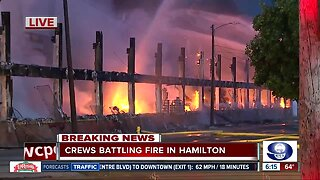 Crews evacuate homes near massive warehouse fire in Hamilton