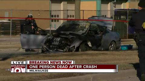 One dead after fiery crash on Milwaukee's north side