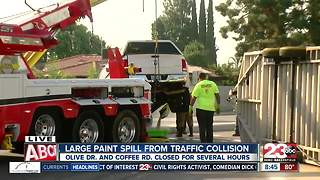 Paint spill and crash blocks lanes of traffic in  northwest Bakersfield - Video