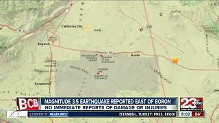 3.5 magnitude earthquake hits east of Boron