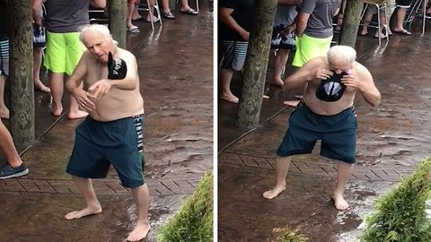 Elderly man hilariously raving at pool party
