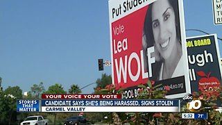 North County candidate says she's being harassed, signs stolen