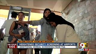 Heightened security screening at airports