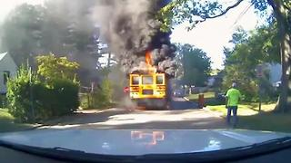 Bus Driver Saves 20 Children From Burning Bus - Video
