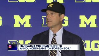 Harbaugh talks international travel, comments on Meyer