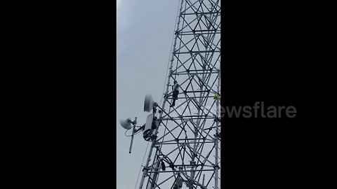 Man scales 200-foot cellphone tower in Florida