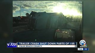 Tractor trailer crash blocks lanes on I-95 South - Video