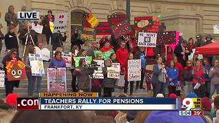 Kentucky teachers protest cuts to retirement benefits - Video