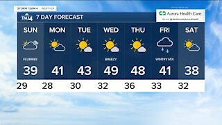 Chance of afternoon flurries on Sunday