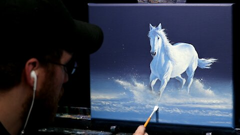 Acrylic Painting of a White Horse in Snow - Time Lapse - Artist Timothy Stanford