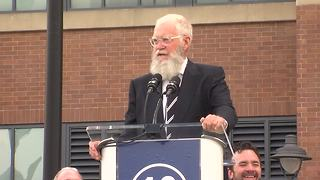 David Letterman jokes with the crowd during the Peyton Manning statue unveiling in front of Lucas Oil Stadium - Video