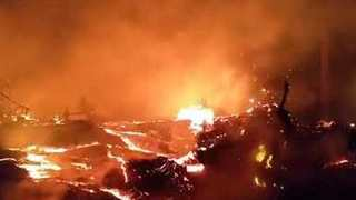 Lava Billows from Fissure at Hawaii's Kilauea Volcano - Video