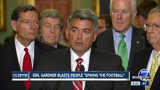 Cory Gardner laments people 'spiking the football' after latest GOP health care failure - Video