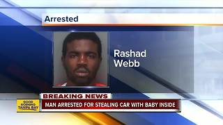 Suspect arrested after car was stolen with 8-month-old inside in St. Pete - Video