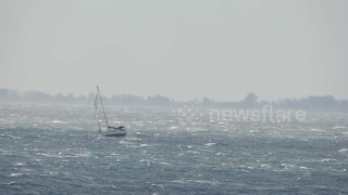 Sailing boat gets caught in Mediterranean cyclone - Video