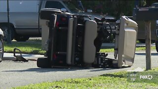 Two hospitalized after car hits golf cart