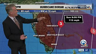 Hurricane Dorian packing 85 mph winds, expected to become a dangerous storm