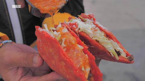 This fried quesadilla is infused with Hot Cheetos