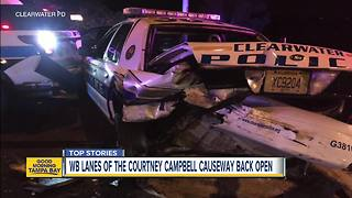 Three police officers injured in two separate traffic crashes on Courtney Campbell Causeway - Video