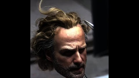 Super realistic miniature hair tutorial of Rick Grimes