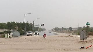 Monsoon Flash Floods Sweep Away Road Signs In Las Vegas - Video
