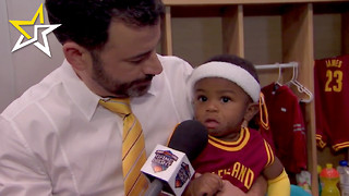 Jimmy Kimmel Does Lock Room Interview With 'Baby' LeBron James And Stephen Curry - Video