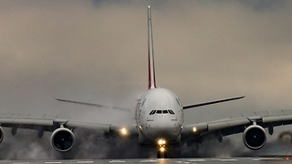 Crosswinds Forces Plane to Use Reverse Thrust to Stop at the End of Runway