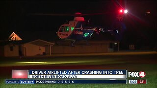 Driver airlifted after crashing into tree in Alva