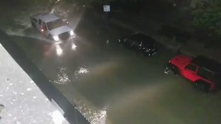 Tropical Storm Harvey Dumps Rain on Downtown Houston - Video