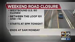 Stretch of US 60 westbound closed over weekend for improvements